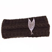 Image of Chocolate Brown Wool Headband with Leaves