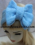 Image of Knitted Bow Headband Oversized Bow Cute Cosy Kawaii Lolita Ear Warmer in Baby Blue