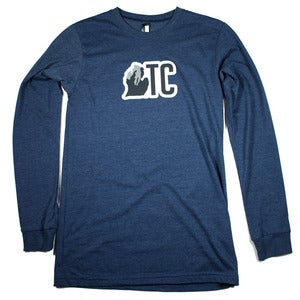 Image of TC Michigan Long Sleeve Shirt Heather Navy