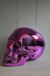 Image of Sacred Skull Ornament Chrome Blush Pink