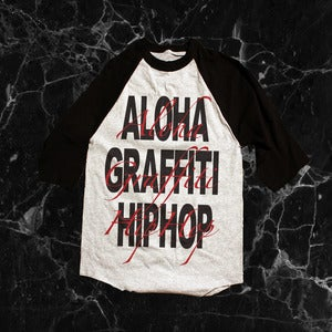 Image of Aloha Graffiti Hiphop Script - Athletic Heather Baseball Tee