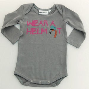 Image of Wear a Helmet Long Sleeve Romper Grey