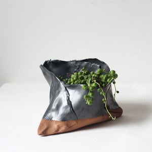 Image of Gunmetal on Hazelnut Free-Form Folded Planters