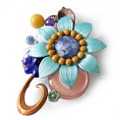 Image of Blue Flower Brooch by Joli Jewelry