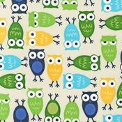 Image of Urban Zoologie Multicolor Owls on Beige