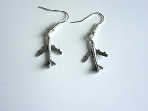Image of Small Silver Tone Plane Earrings