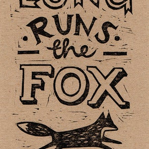 Image of 'Fox Proverb' lino print