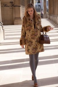 Image of Ultra Luxurious Vintage Inspired Tapestry Coat (beige)