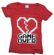 Image of 8 Bit Apparel Game Over Ladies Heather Red Scoop Neck