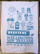 Image of Wellington New Zealand tea towel Blue