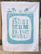 Image of Best Mum in the World tea towel in turquoise