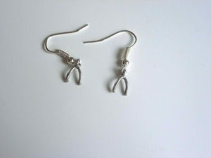 Image of Small Silver Tone Wishbone Earrings