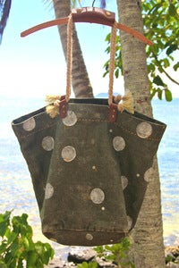 Image of vintage french linen canvas large beach market tote bag - polka dot