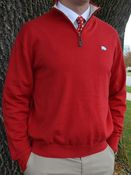 Image of Eildon Hills Red 1/4 Zip Pullover Sweater