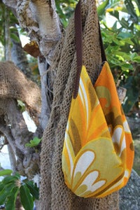 Image of vintage bird of paradise linen slouch bag
