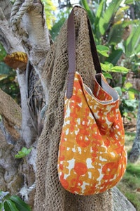 Image of vintage abstract linen slouch bag
