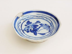 Image of Vintage Blue Chinese Botanical Dish