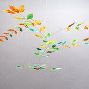 Image of Mint-Orange-Yellow Dappled Leaf Mobile by Moon-Lily Silk Mobiles