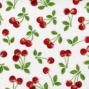 Image of Cherries on white cotton sateen swing skirt!