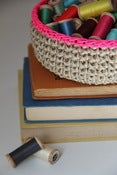 Image of Jute Bowl - Neon Pink Trim