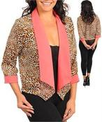 Image of Plus Size Cheetah and Blush Blazer 