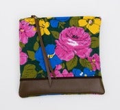 Image of leather-bottomed floral print zipper clutch (multi)