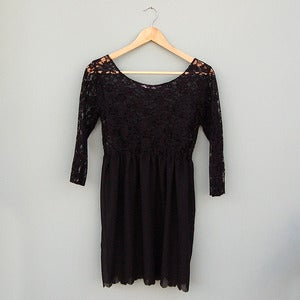 Image of Black Lace Long Sleeve Scalloped Hem Babydoll Dress by Kee Boutique