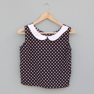 Image of Polka Dot Crop Top with Peter Pan Collar by Kee Boutique 