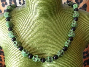 Image of Green & Black Sugar Candy Skull Stone Effect Day of the Dead Día de Muertos Necklace