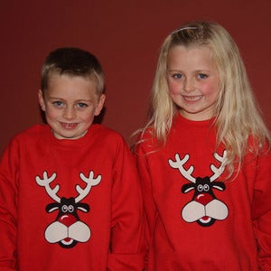 Image of Rudolph the Red Nosed Reindeer Childrens Christmas Sweatshirt/ Jumper (Red)