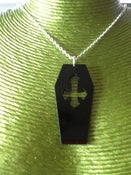 Image of Acrylic Coffin Necklaces Choice of Two Colours Pink or Black Horror Zombie Halloween