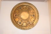 Image of Round Brass Tray with Turquoise and Coral Accents