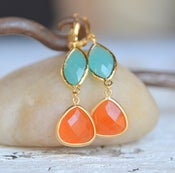 Image of Burnt Orange Teardrop and Turquoise Oval Dangle Earrings. Fall Fashion Earrings.