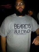 Image of BEARDS IN THE BUILDING T-SHIRT GREY WITH BLACK PRINT
