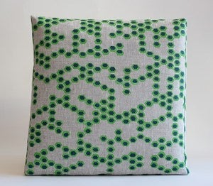 Image of reworked hex grass/ocean cushion