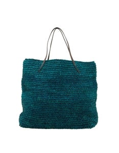 Image of CALYPSO RAFFIA AZURE BLUE TOTE BY MICHAEL STARS 40% off