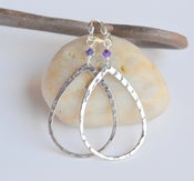 Image of Everyday Wear Large Silver Teardrop Hoop Earrings - Choose Swarovski Crystal Color