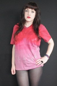 Image of Red Acid Wash Dip Dye T-shirt