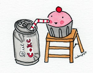 Image of Original Artwork: Mini Painting of Cupcake Drinking Diet Coke