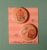 Image of BUTTONS: 2-pack of Cute Cupcake Pins / Buttons / Badges!