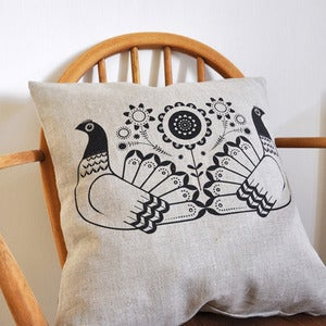 Image of Bantam cushion cover - Hand Printed on Natural Linen