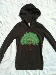 Image of dancing tree - ladies soft thermal hoody - black