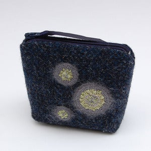 Image of Navy Harris tweed purse