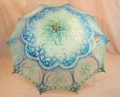 Image of Lace Parasol Turquoise and Blue