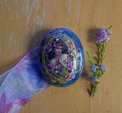 Image of Victoriana Silk Print Brooch with Floral Ribbon