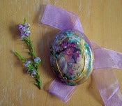 Image of Victoriana Silk Print Brooch with Pink Ribbon