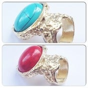 Image of Red/Blue Gold Plated Oval Gemstone Ring