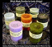Image of Witch Made Pillar Candles: Meditation Spirit Psychic Energy Goddess Banishing Dreams Healing Sabbath