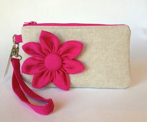 Image of Pink Flower Wristlet