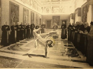 "Image of ""Breakdancing Jesus"" half-tone silkscreen by Cosmo Sarson"